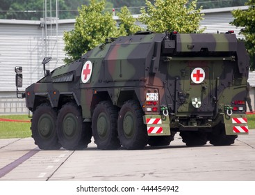 BURG / GERMANY - JUNE 25, 2016: german armoured ambulance vehicle, Boxer drives on open day in barrack burg / germany at june 25, 2016.