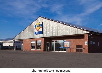 BURG / GERMANY - NOVEMBER 13, 2016: Branch from NP supermarket chain. Niedrig-Preis market is a food discounter with the dissemination area in northern Germany.