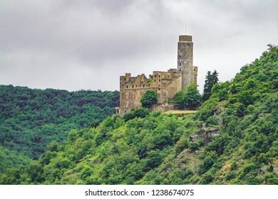 Burg Maus Castle along the Rhine river near Sankt Goar, Germany,