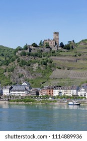 Burg Maus and Kaub town from across the Rhine, Germany