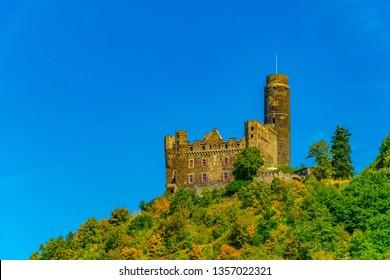 Burg Maus overlooking Rhein river in Germany