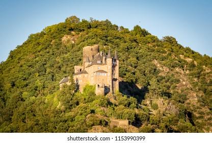 Burg Maus at sunset