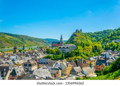 Burg Schonburg above Oberwesel town in Germany