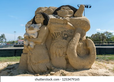 "BURGAS, BULGARIA, 23.09.2017. Sand figure of ""MOANA"" movie at the Sand Figures Festival."