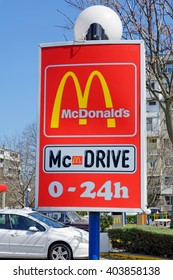 Burgas, Bulgaria - April, 03.2016-McDonalds restaurant sign with McDrive in Burgas. McDonald's is the world's largest chain of fast food restaurants, serving around 68 million customers daily.