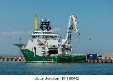 BURGAS, BULGARIA - AUGUST 20, 2017: An Inspection, Maintenance and Repair (IMR) vessel Havila Subsea (Offshore Supply Ship) in the seaport of Burgas.