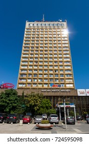 """BURGAS, BULGARIA - AUGUST 20, 2017: Modern business hotel """"Bulgaria"""" and casino """"WinBet"""". Burgas, is the second largest city on the Bulgarian Black Sea Coast."""