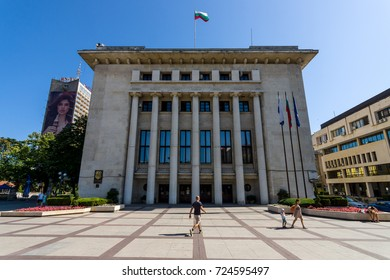 BURGAS, BULGARIA - AUGUST 20, 2017: The building of the municipality of Burgas and the Freedom Square. Burgas, is the second largest city on the Bulgarian Black Sea Coast.