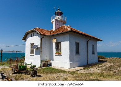 BURGAS, BULGARIA - AUGUST 20, 2017: Lighthouse on the island of St. Anastasia in the Burgas Bay of the Black Sea.