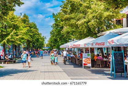 BURGAS, BULGARIA - AUGUST 24, 2016: Street view of Burgas in Bulgaria. Burgas is the capital of Burgas Province and an important industrial, transport, cultural and tourist centre.