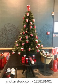 Burgas, Bulgaria - December 11, 2018: Christmas Mood In Starbucks Store, Mall Galleria Burgas. Starbucks Corporation Is An American Coffee Company And Coffeehouse Chain.