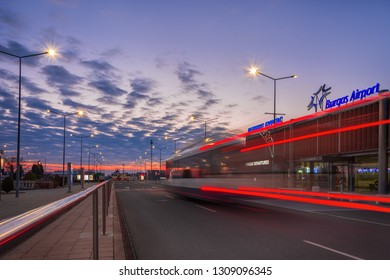 BURGAS, BULGARIA- January 4,2018: Burgas Airport at blue hour. The airport takes tourists to the resorts of the Black Sea Coast.