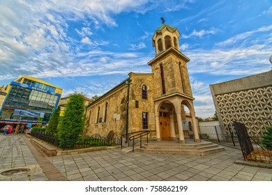 BURGAS, BULGARIA - JUL 17, 2017: Armenian Church of the Holy Cross. Architecture and streets of the old city. Picture taken during a trip to Bulgaria