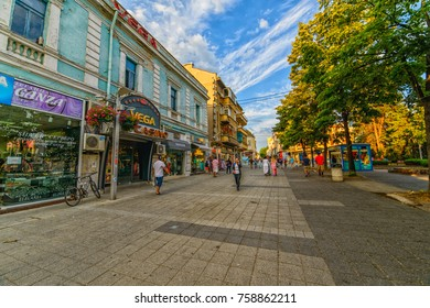 BURGAS, BULGARIA - JUL 17, 2017: Tourists walk along the central pedestrian street in Burgas. Architecture and streets of the old city. Picture taken during a trip to Bulgaria