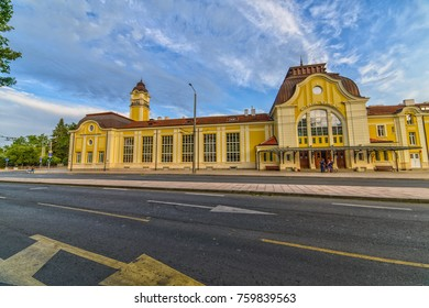 BURGAS, BULGARIA - JUL 17, 2017: Train Station in Burgas. Architecture and streets of the old city. Picture taken during a trip to Bulgaria