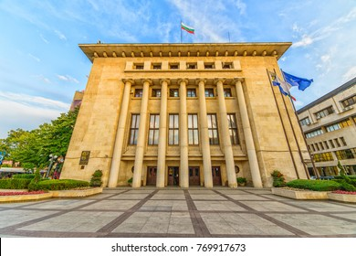 BURGAS, BULGARIA - JUL 17, 2017: City Hall of Burgas.  Architecture and streets of the old city. Picture taken during a trip to Bulgaria