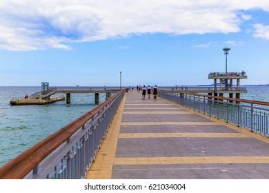 BURGAS, BULGARIA- JULY 21, 2016: Old Pier in Burgas, Bulgaria