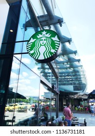 Burgas, Bulgaria - June 20, 2018: Starbucks store in Mall Galleria Burgas. Starbucks Corporation is an American coffee company and coffeehouse chain.
