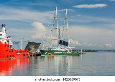 BURGAS, BULGARIA - JUNE 9, 2019: Greenpeace Rainbow Warrior sailing ship at the Port of Burgas, Bulgaria. Greenpeace is a non-governmental environmental organization with offices in over 39 countries