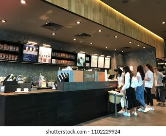 Burgas, Bulgaria - May 29, 2018: Starbucks store in Mall Galleria Burgas. Starbucks Corporation is an American coffee company and coffeehouse chain.