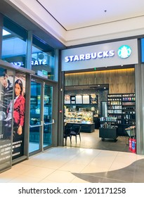 Burgas, Bulgaria - October 10, 2018: Starbucks store in Mall Galleria Burgas. Starbucks Corporation is an American coffee company and coffeehouse chain.