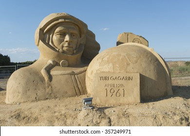 "Burgas, Bulgaria - September 07, 2013: sixth edition of the Festival of sand sculptures titled ""Walk of fame"". Yuri Gagarin sclupture."