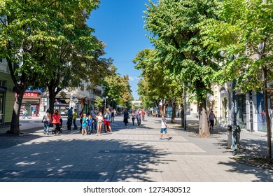 Burgas/Bulgaria - 09.10.2018: The view on the street in the city centre of Burgas in Bulgaria. Town has  an access to the Black sea so it's popular during the summer time.