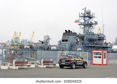 Burgas,Bulgaria- February 10.2018 - ROS Lupu Dinescu (a Romanian Navy Minesweeper) ,one of the NATO's second permanent anti-tank group, moored in Port of Burgas.