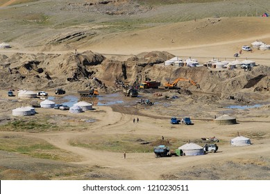 Burgede, Mongolia - August 24, 2006: View to the gold mining camp in Burgede, Mongolia.