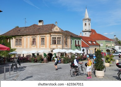 BURGENLAND, AUSTRIA - AUGUST 9, 2012: People visit Rust, Burgenland, Austria. The region of Burgenland has rich traditions in viticulture and wine making.
