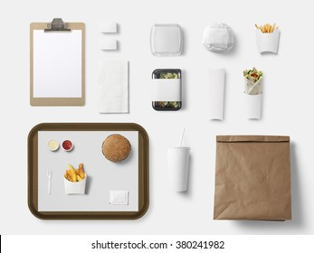 Burger bar corporate identity template design set. Branding mock up, top view