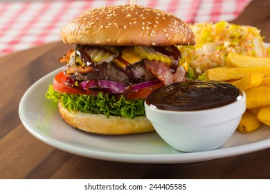burger with bbq sauce and chips