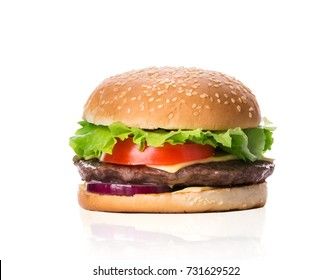 Burger with beef cutlet, green lettuce, tomato and cheese. Cheeseburger isolated on white background