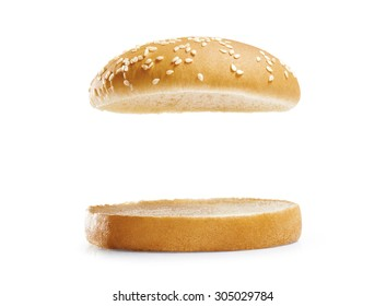burger bread isolated on white  background.