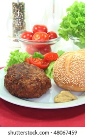 Burger with bread and salad