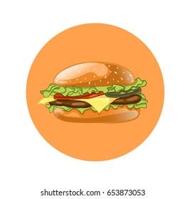 Burger. Cheeseburger illustration. Hamburger icon. Fast food concept.