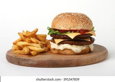 burger double beef  - American food - fast food - junk food - hamburger