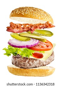 burger with flying ingredients isolated on white background