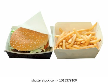 Burger and french fries box on a white background isolation