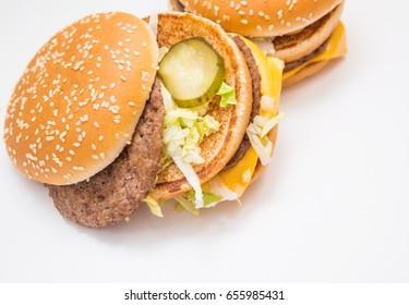 Burger, french fries, fast food on isolated background