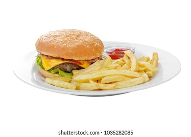 Burger with French fries and ketchup, barbecue sauce. Side view. Serving, serving for a cafe, a restaurant in the menu. Isolated, white background on plate