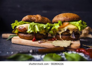Burger with French fries on the table