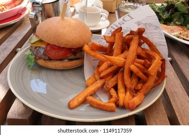 burger with french fries plate
