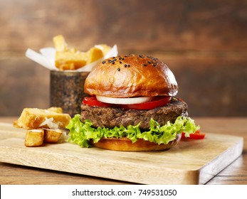 Burger with fries