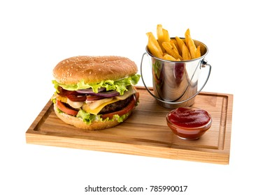 Burger with fries on a white