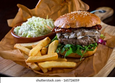 burger with goat cheese