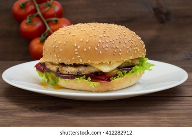 Burger of homemade close up on wooden background