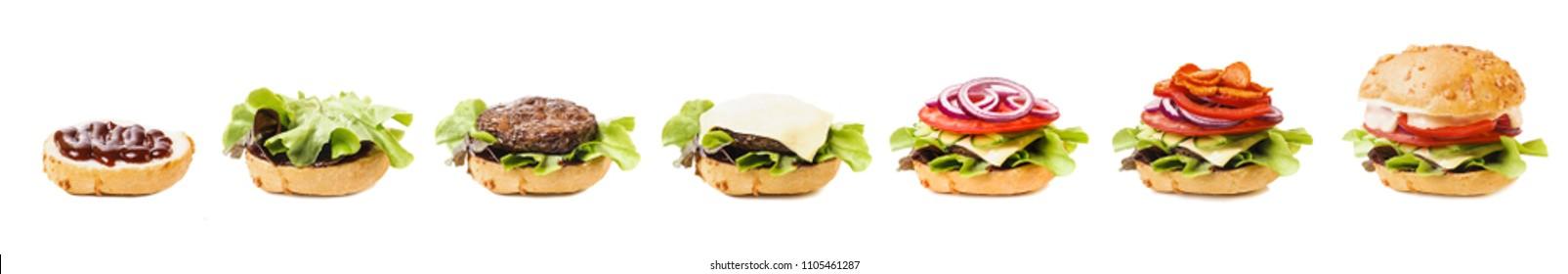 Burger ingredients isolated on white background, process of making hamburger
