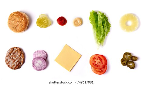 burger ingredients isolated on white background. top view