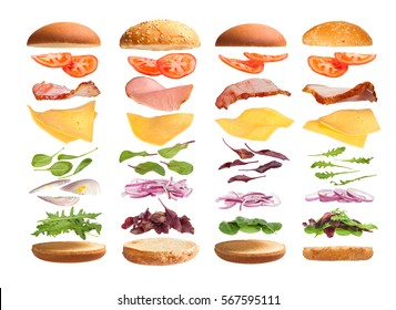 Burger with ingredients on a white background